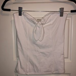 Express White Tube Top with Bow Detail